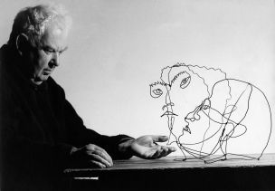 Alexander Calder with His Sculpture of Edgard Varèse (1963)