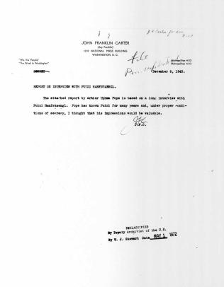 """""""Memorandum on Ernst Jünger,"""" cover letter"""
