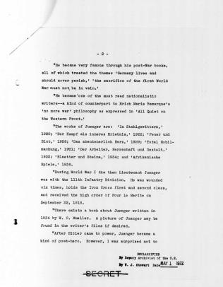 """Memorandum on Ernst Jünger,"" p.2"