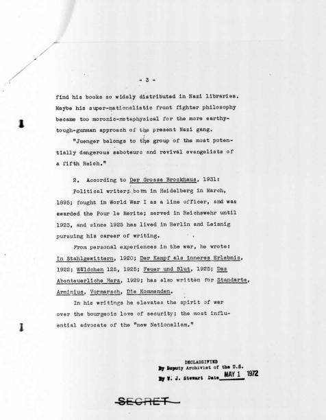 """Memorandum on Ernst Jünger,"" p.3"