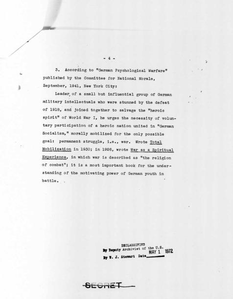 """Memorandum on Ernst Jünger,"" p.4"
