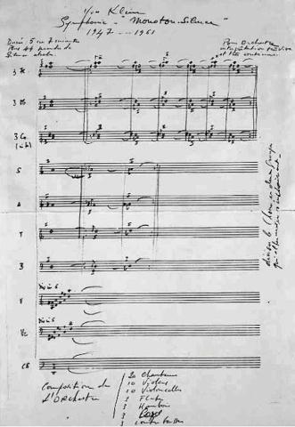 """Yves Klein, Score of the """"Symphonie monoton-silence"""" (1949/1961)"""